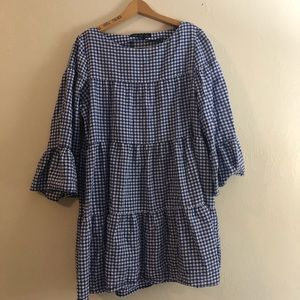 7595bb296e5 ... Blue Gingham Tiered loose Dress L ...